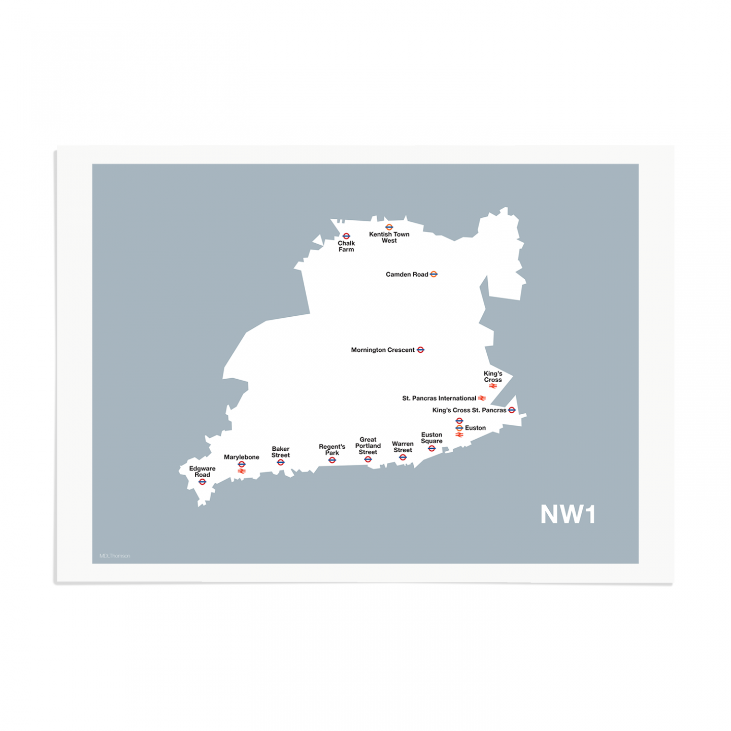 Place in Print MDL Thomson NW1 Postcode Map Grey Art Print Unframed