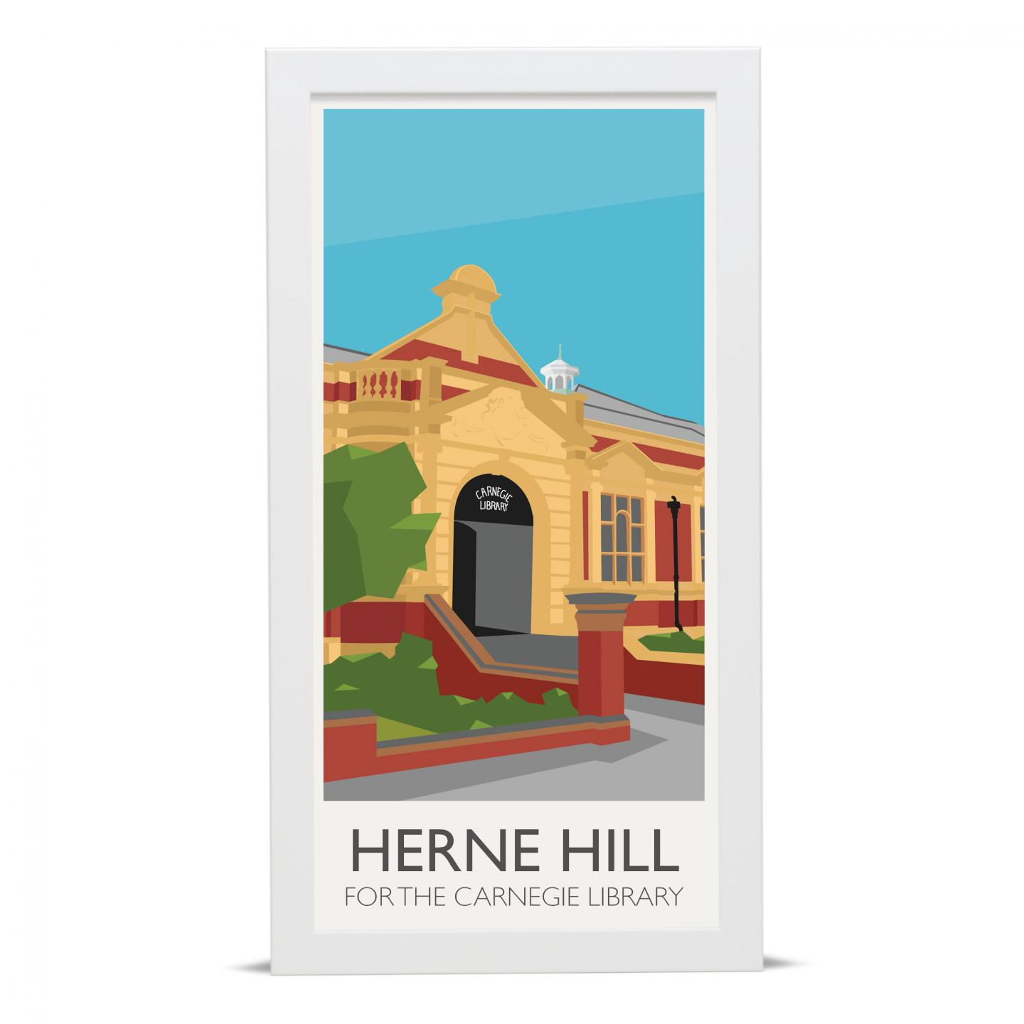 Place in Print Herne Hill Lamppost Banners Carnegie Library Art Poster Print White Frame