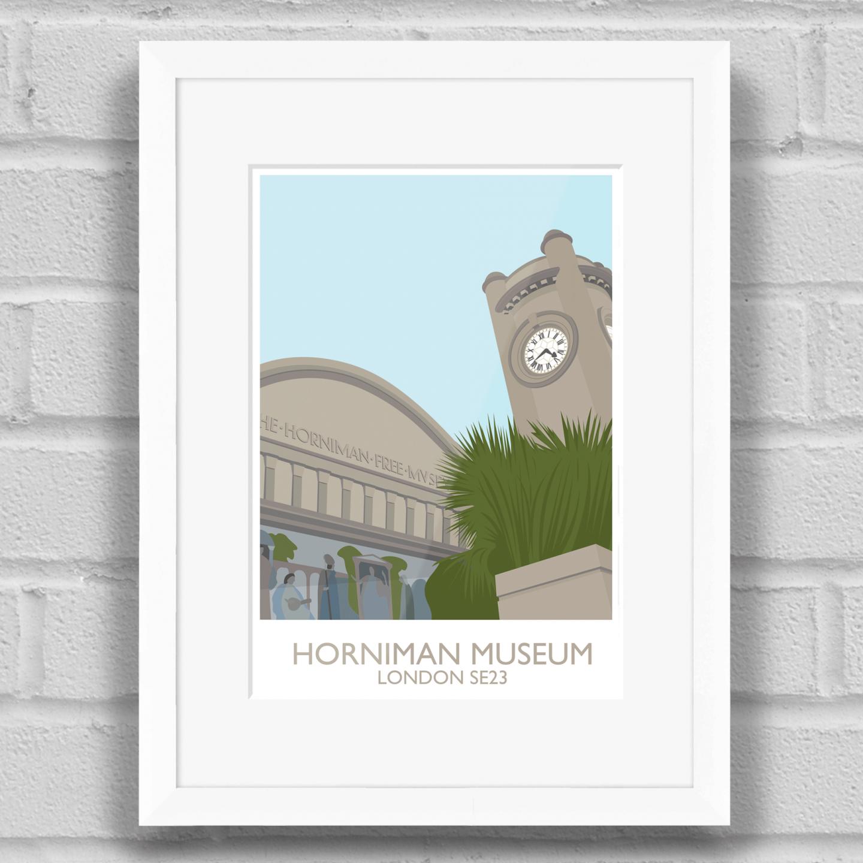 Horniman Museum Landmark Art Poster Print White Frame