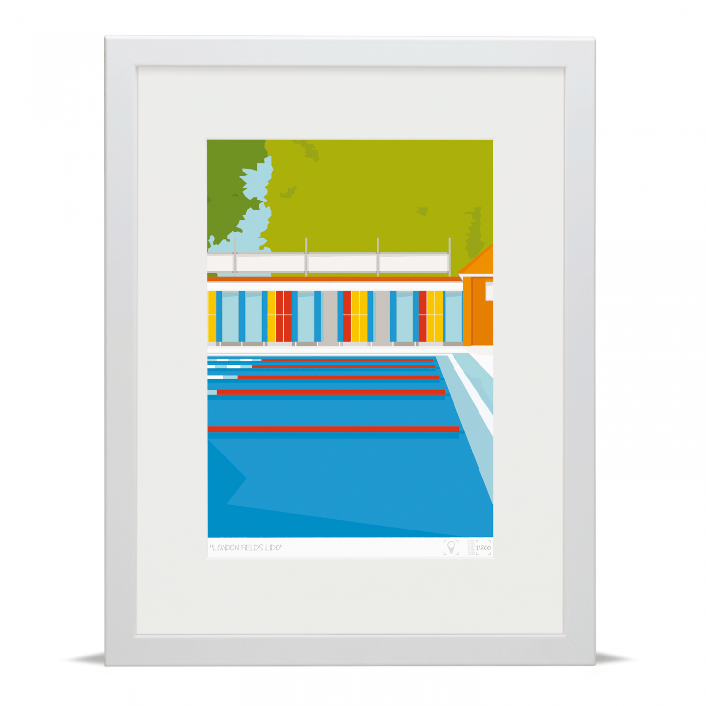 Place in Print London Fields Lido Limited Edition Art Print White Framed