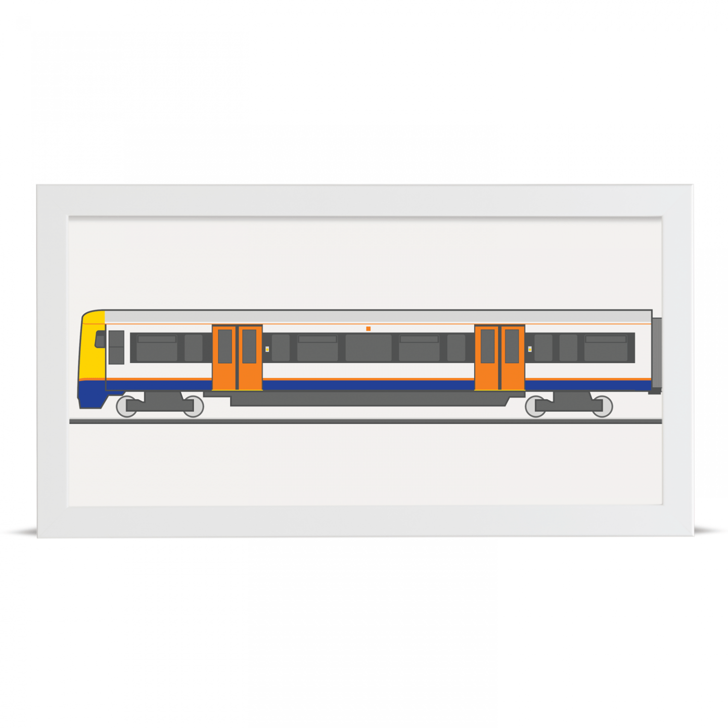 Place in Print London Overground Class 378 Train Front Section Art Print White Frame