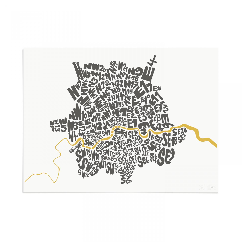 Place in Print London Postcodes Black Gold Art Poster Print Unframed