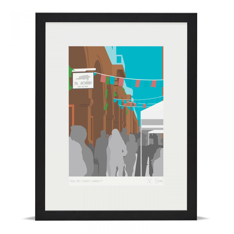 Place in Print Maltby Street Market London Bridge Banner Art Poster Print Black Frame