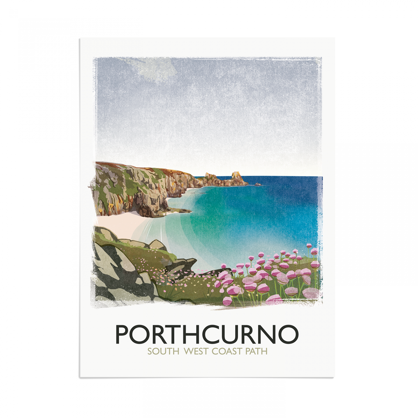 Place in Print Rick Smith Porthcurno Travel Poster Art Print 30x40cm Print-only
