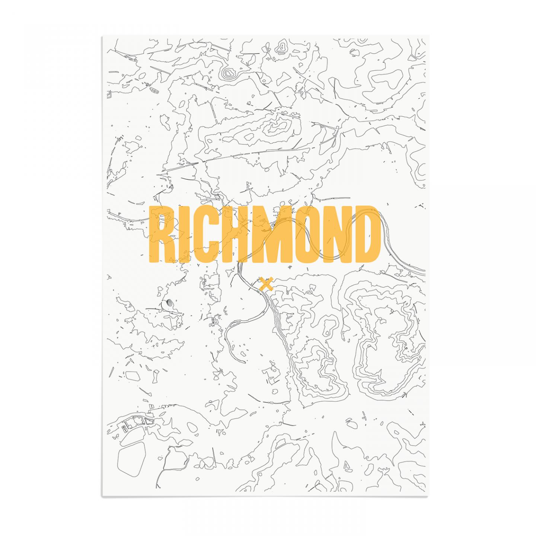 Place in Print Richmond Contours Gold Art Print Unframed