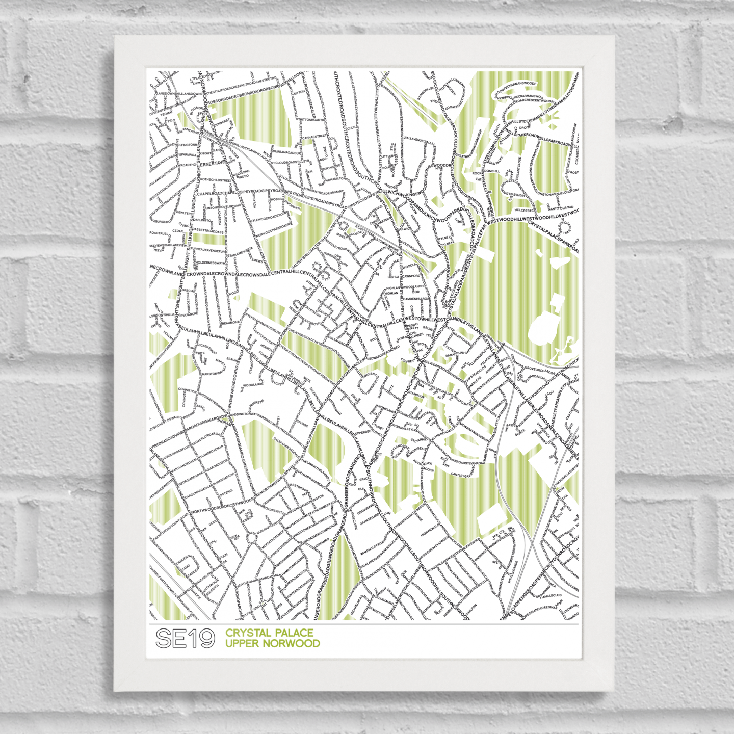 Place in Print SE19 Typographic Street Map White Frame