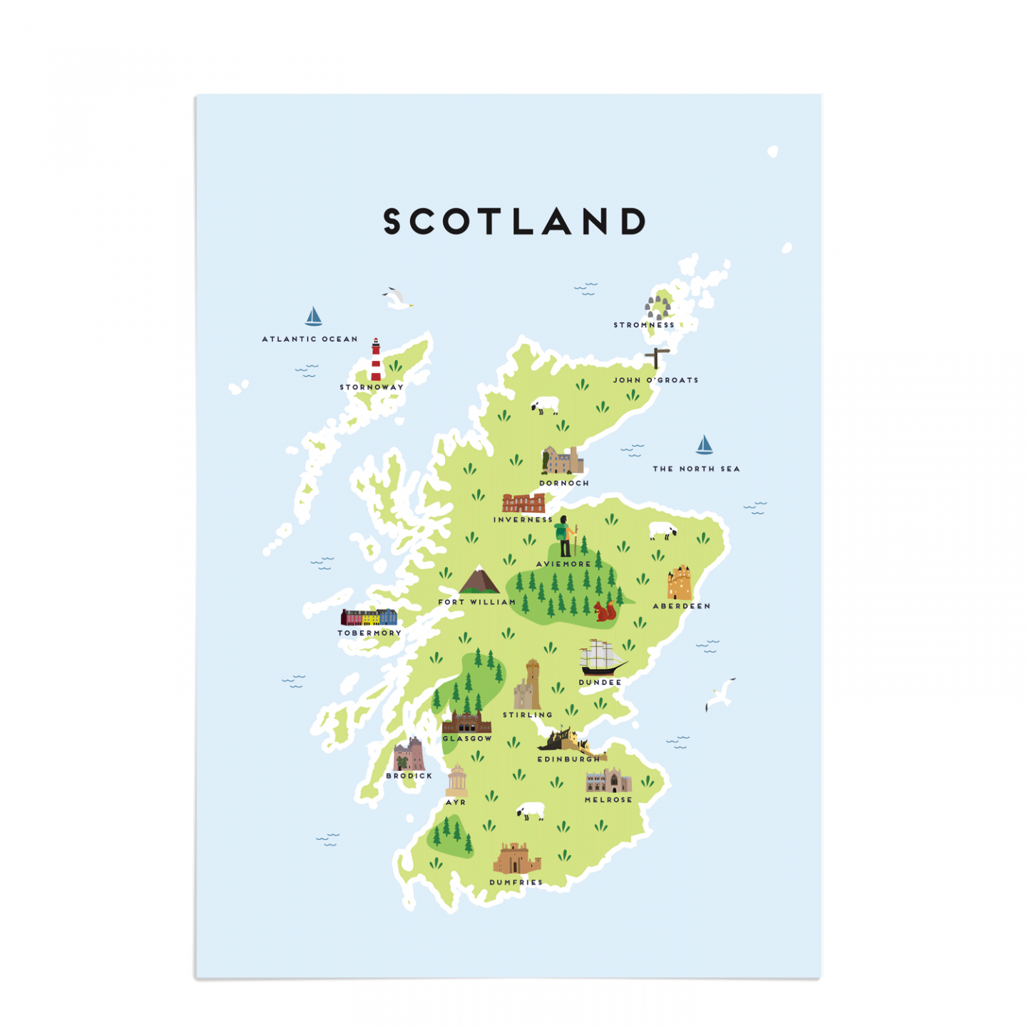 Place in Print Pepper Pot Studios Scotland Illustrated Map Art Print Unframed