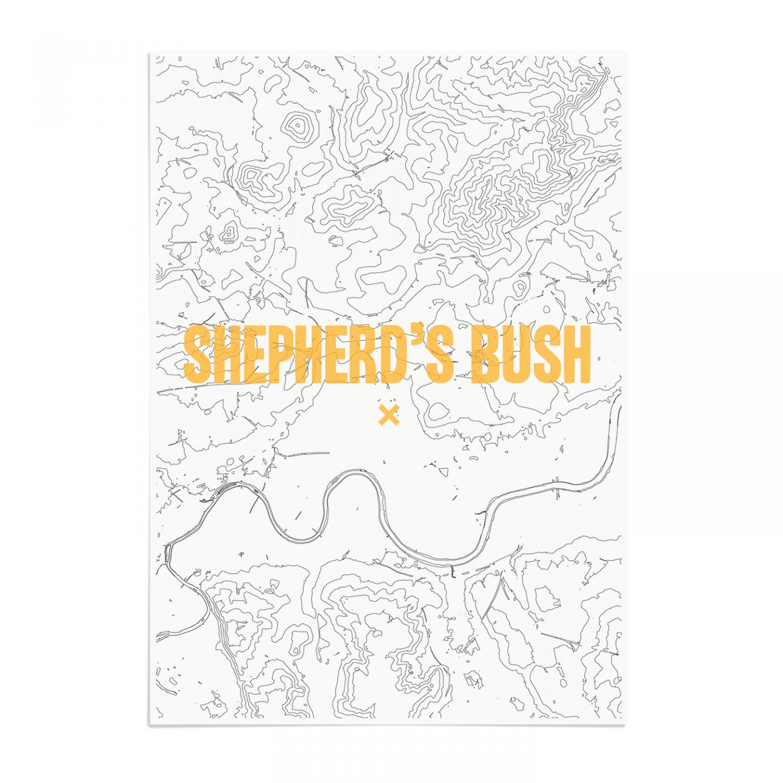 Place in Print Shepherds Bush Contours Gold Art Print Unframed