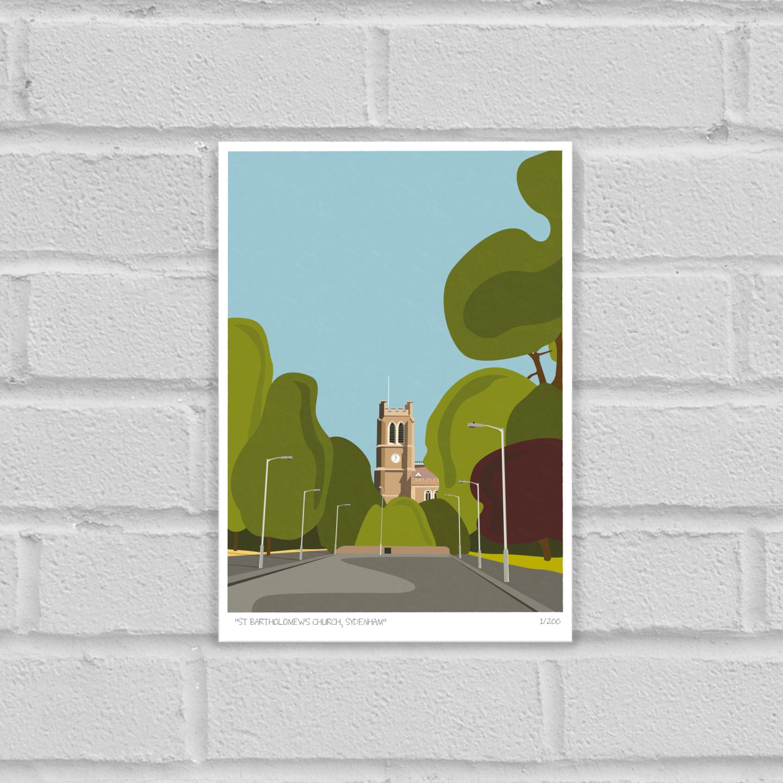 St Bartholomews Church Sydenham Art Poster Print Unframed