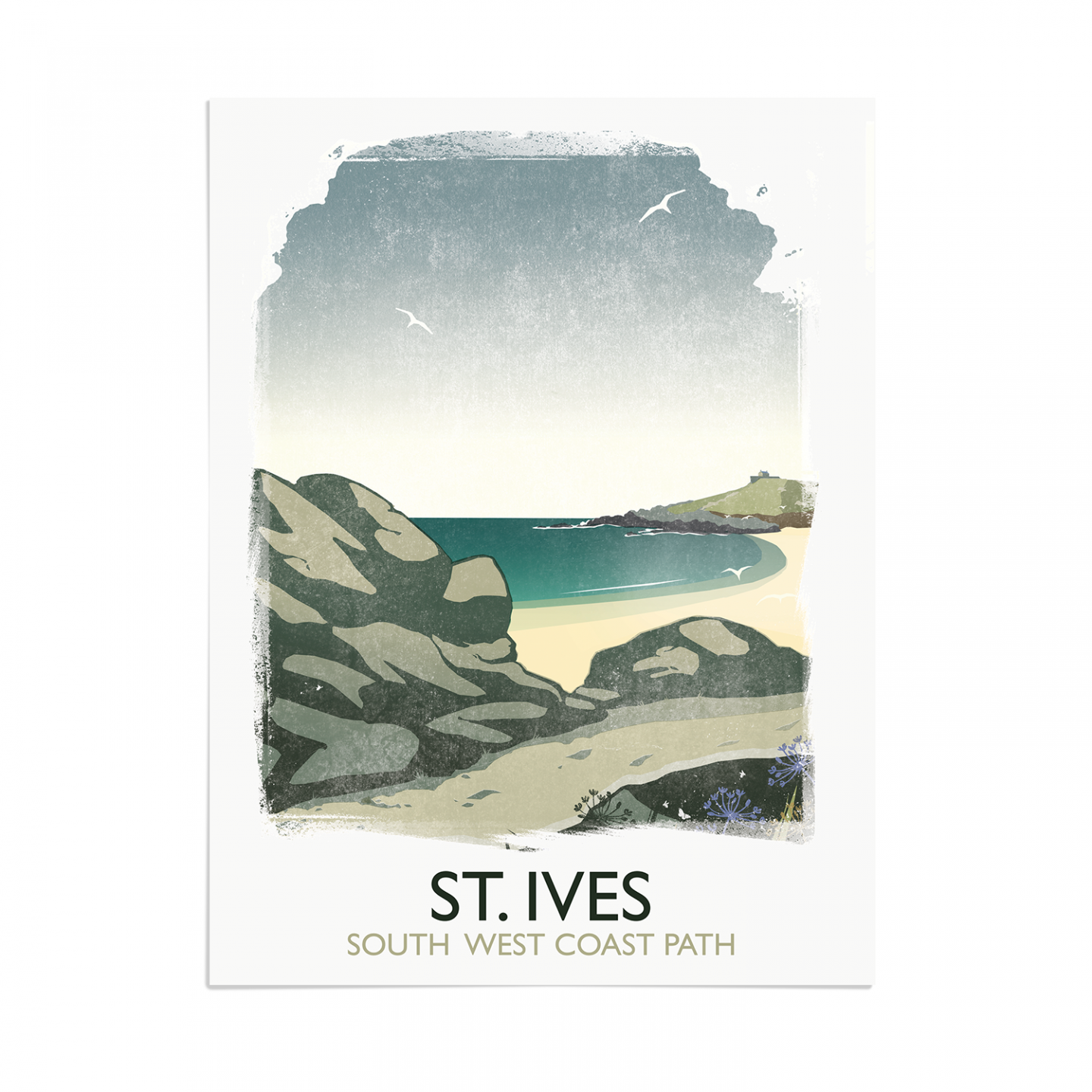 Place in Print Rick Smith St Ives Travel Poster Art Print 30x40cm Print-only