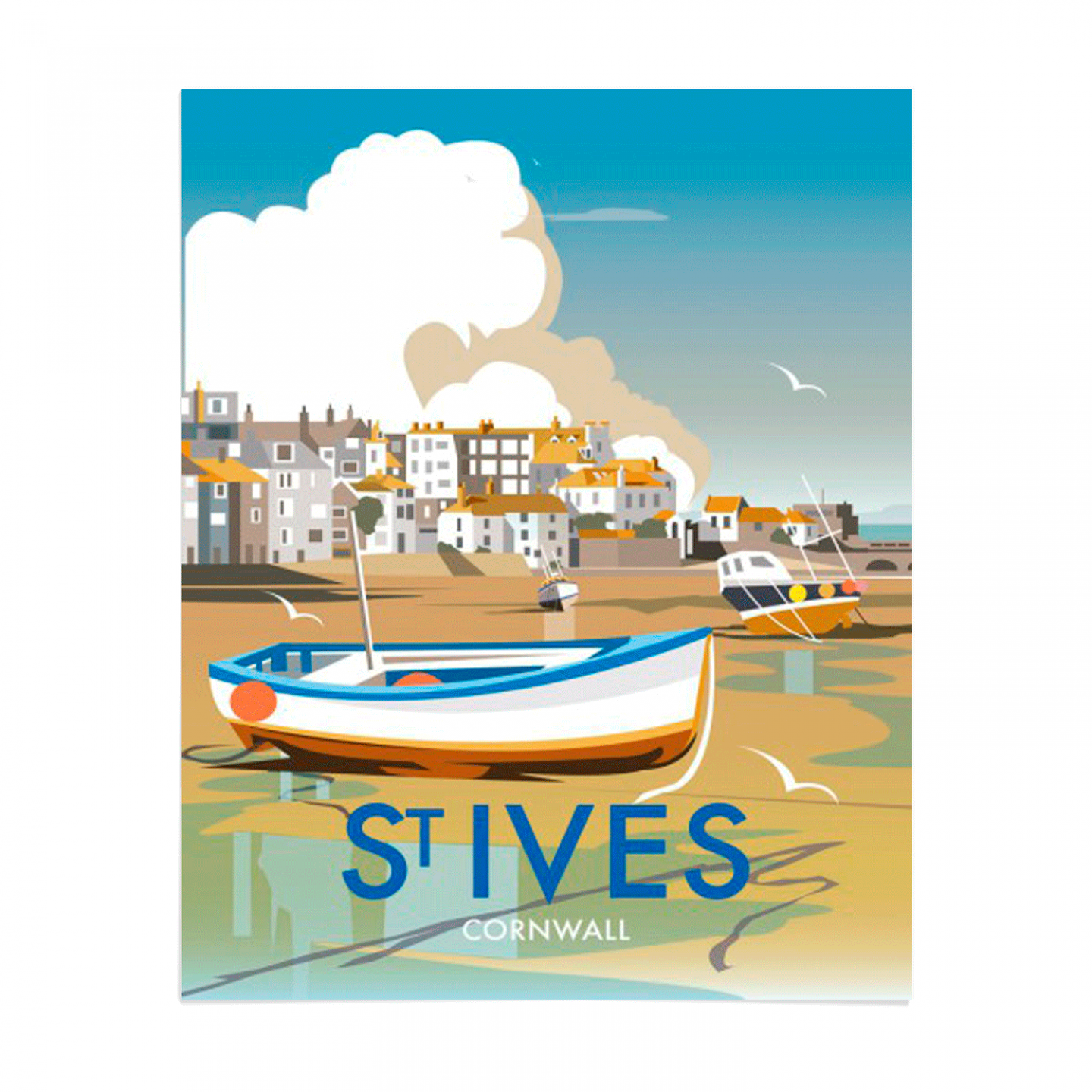 Place in Print Dave Thompson St Ives Travel Poster Art Print Unframed