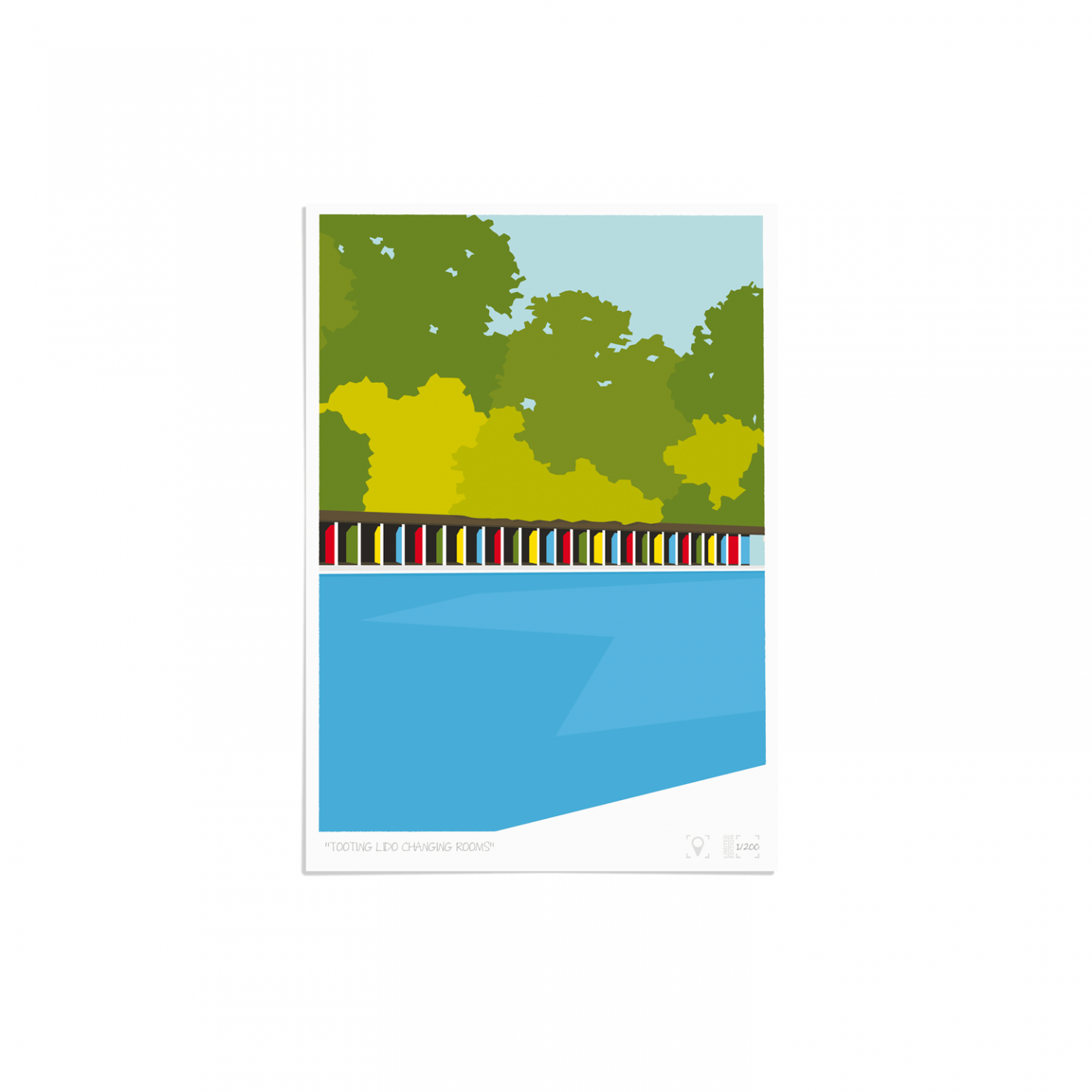 Place in Print Tooting Bec Lido Changing Rooms Art Print Unframed