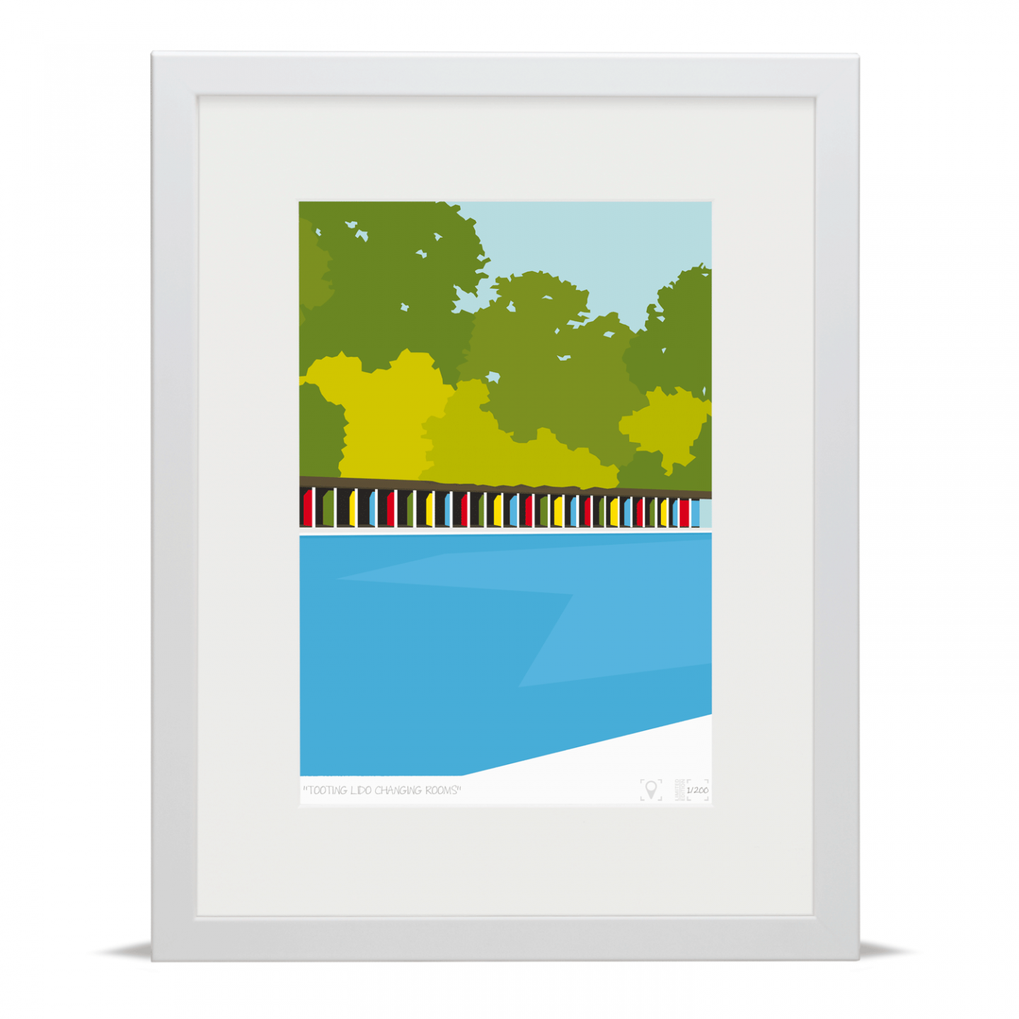 Place in Print Tooting Bec Lido Changing Rooms Art Print White Frame