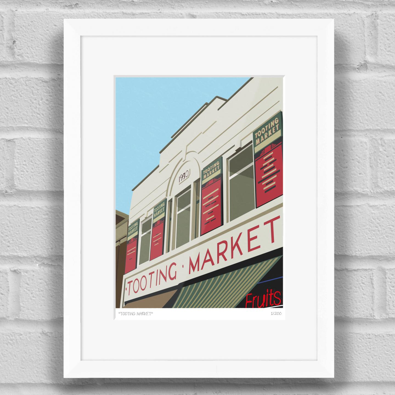 Tooting Market Art Poster Print White Frame