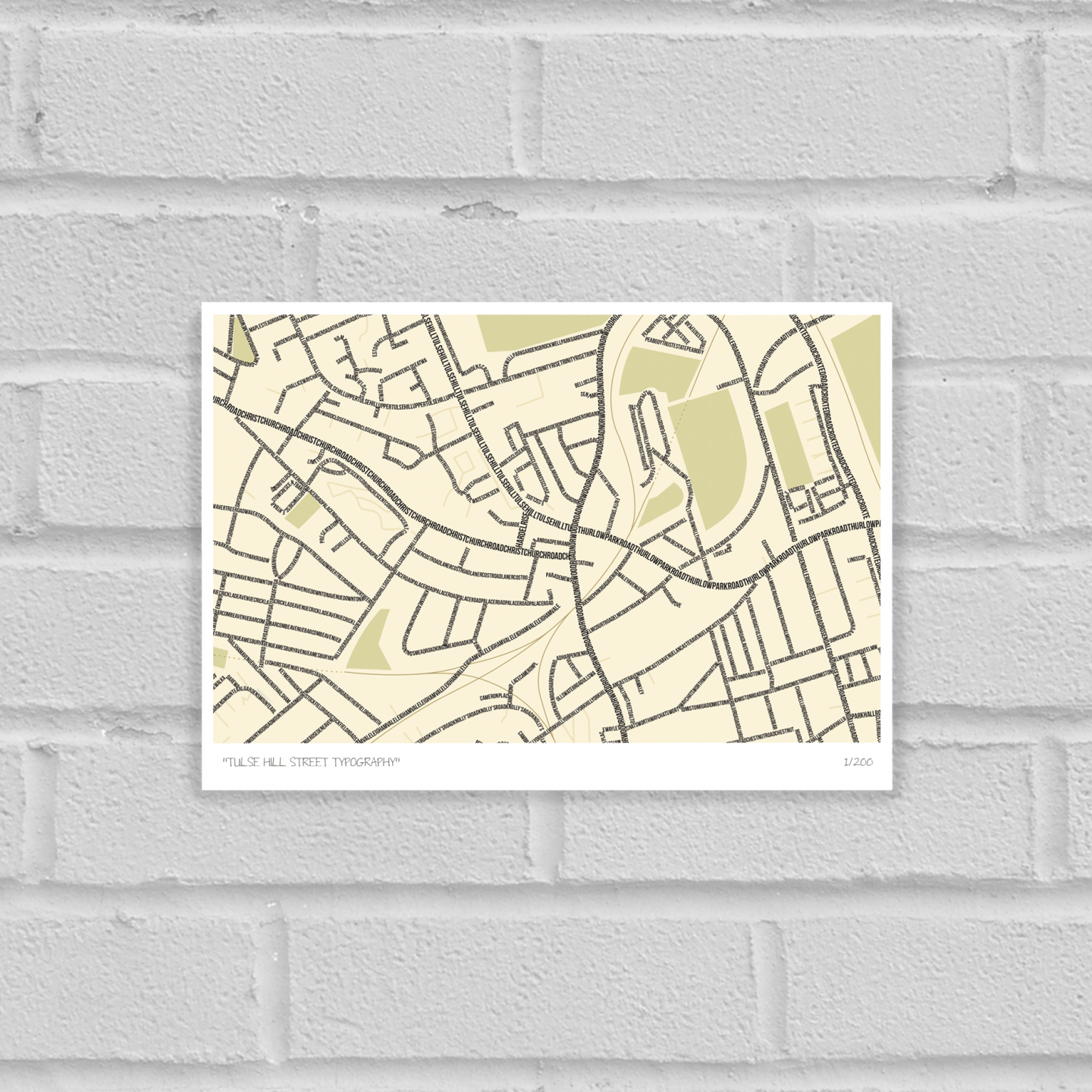 South London Prints Tulse Hill Typographic Street Map Unframed