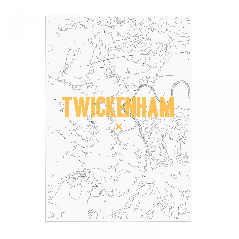 Place in Print Twickenham Contours Gold Art Print Unframed