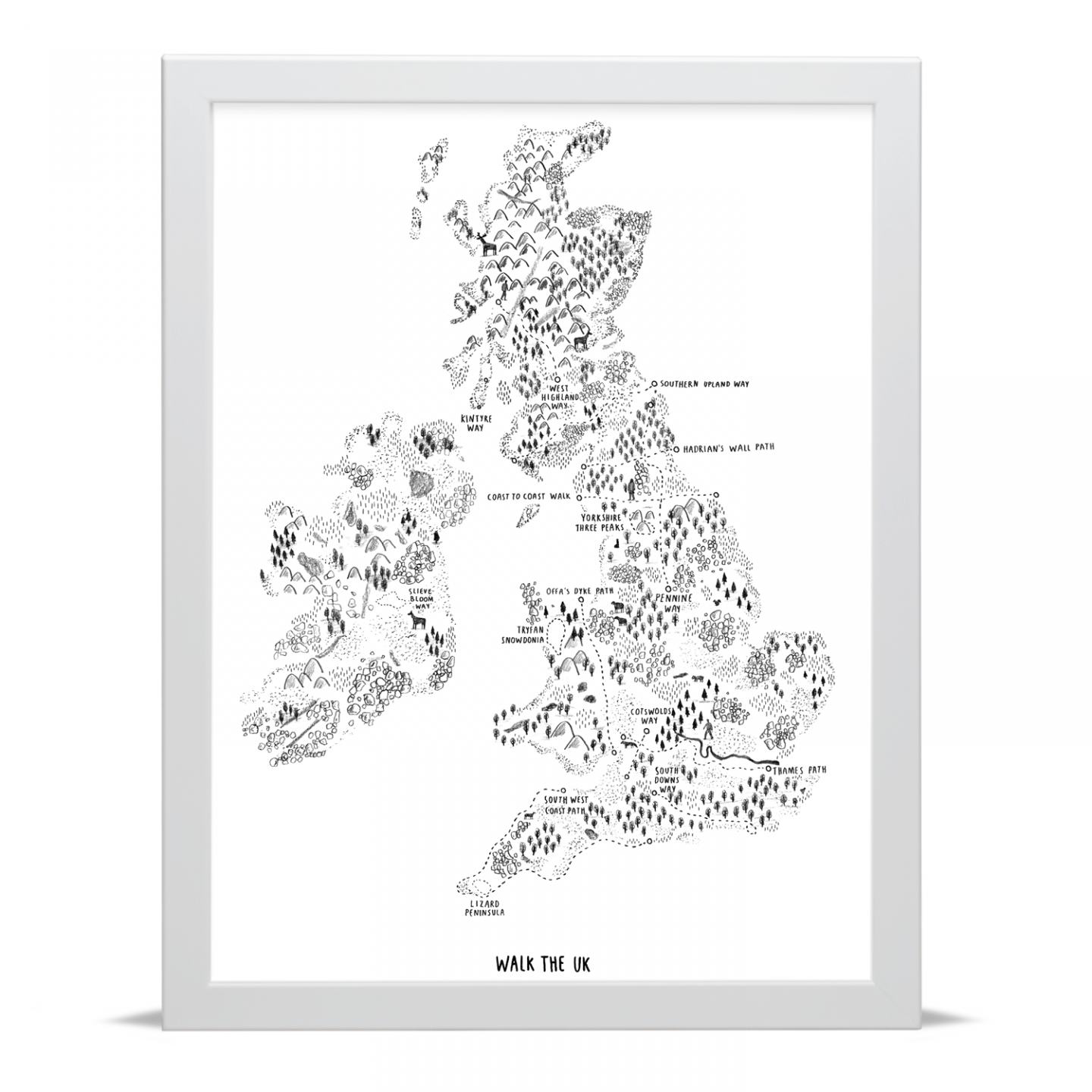 Place in Print Alex Foster Walk the UK Art Poster Print White Frame
