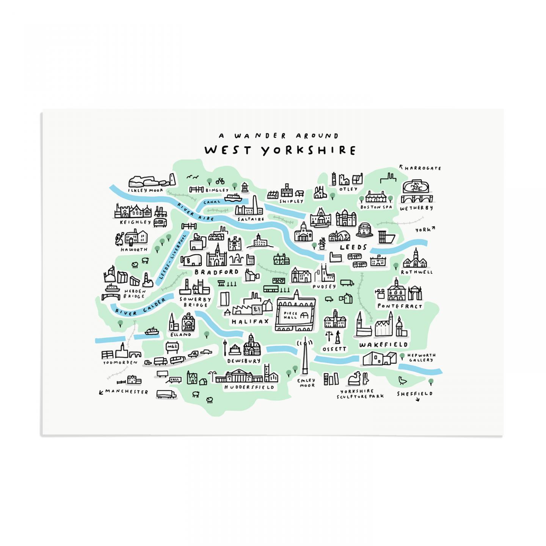 Mercedes Leon Place in Print Wander Around West Yorkshire Art Print Unframed