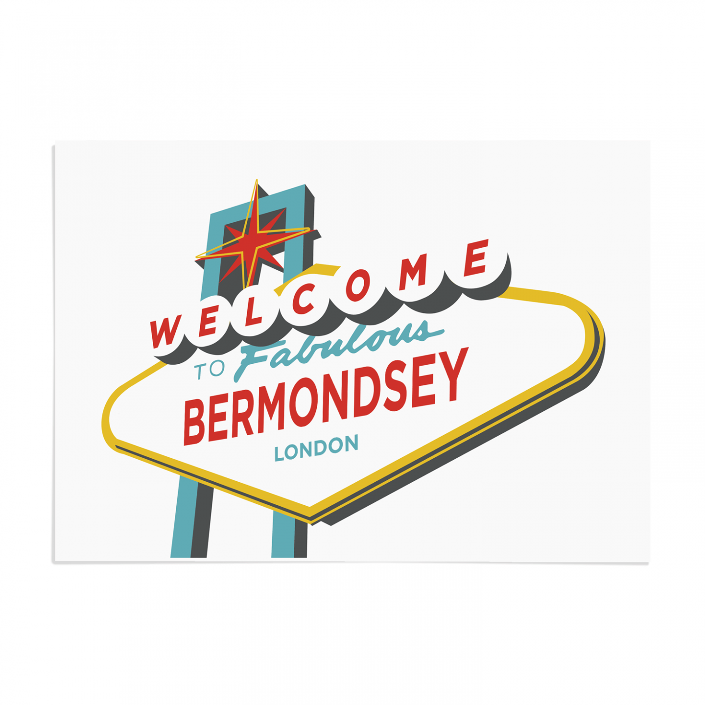 Place in Print Welcome to Bermondsey Vegas Sign Art Print Unframed