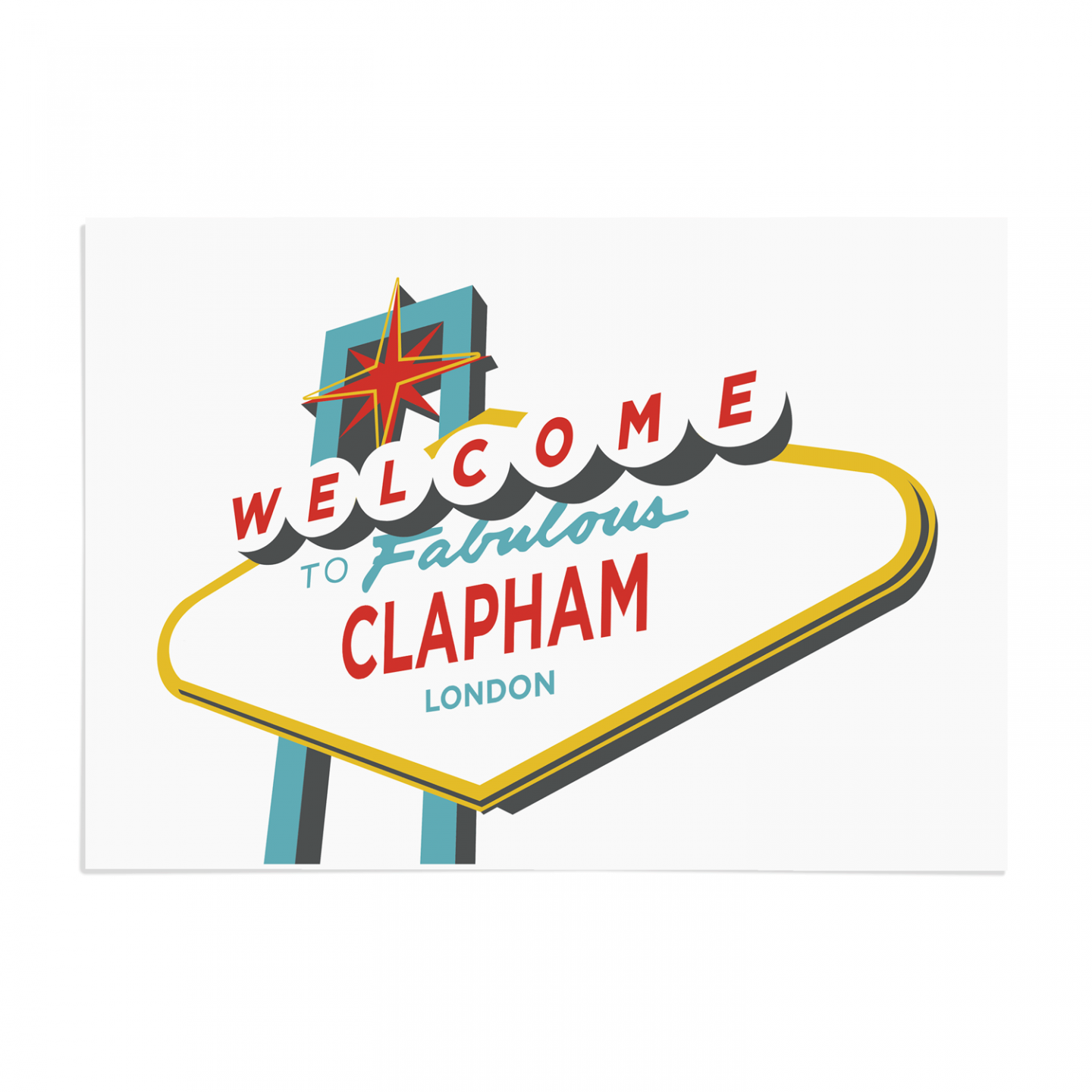 Place in Print Welcome to Clapham Vegas Sign Art Print Unframed