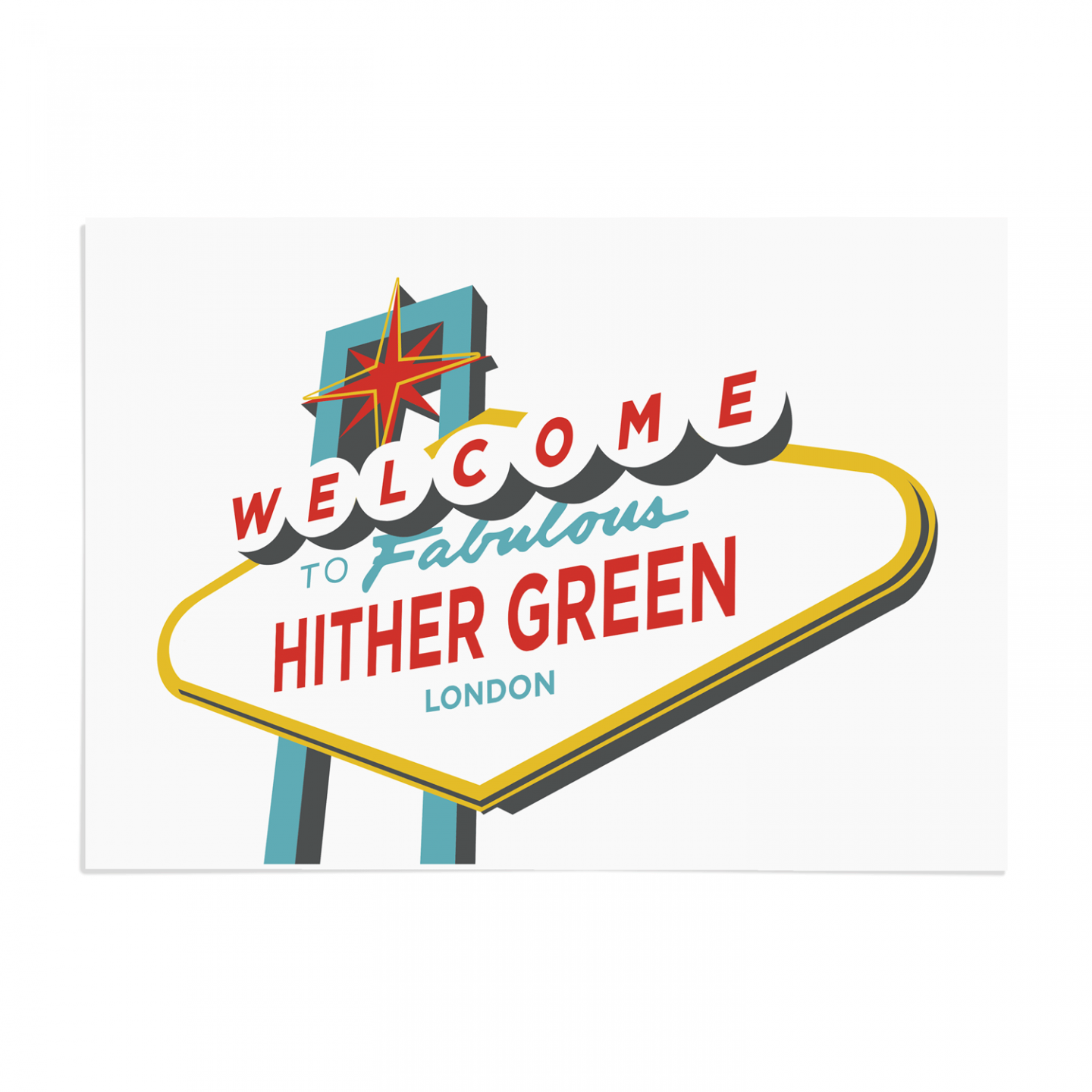 Place in Print Welcome to Hither Green Vegas Sign Art Print Unframed