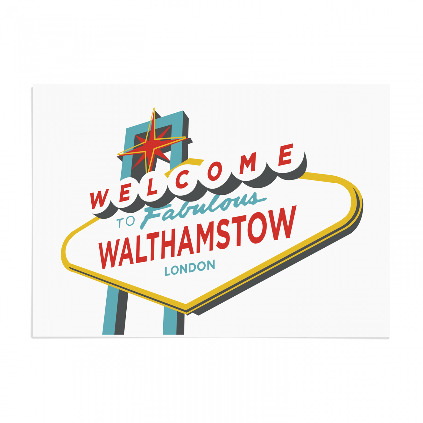 Place in Print Welcome to Walthamstow London Vegas Sign Art Print Unframed