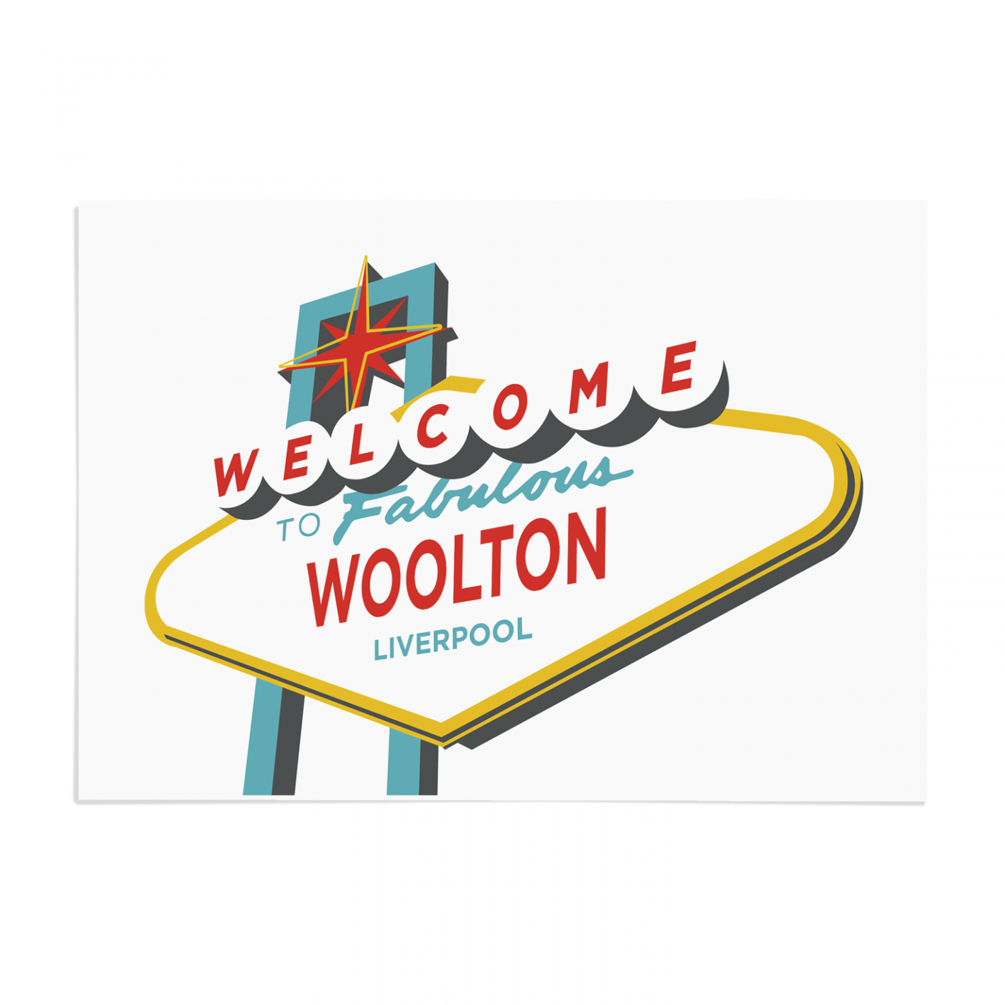 Place in Print Welcome to Woolton Liverpool Vegas Sign Art Print Unframed