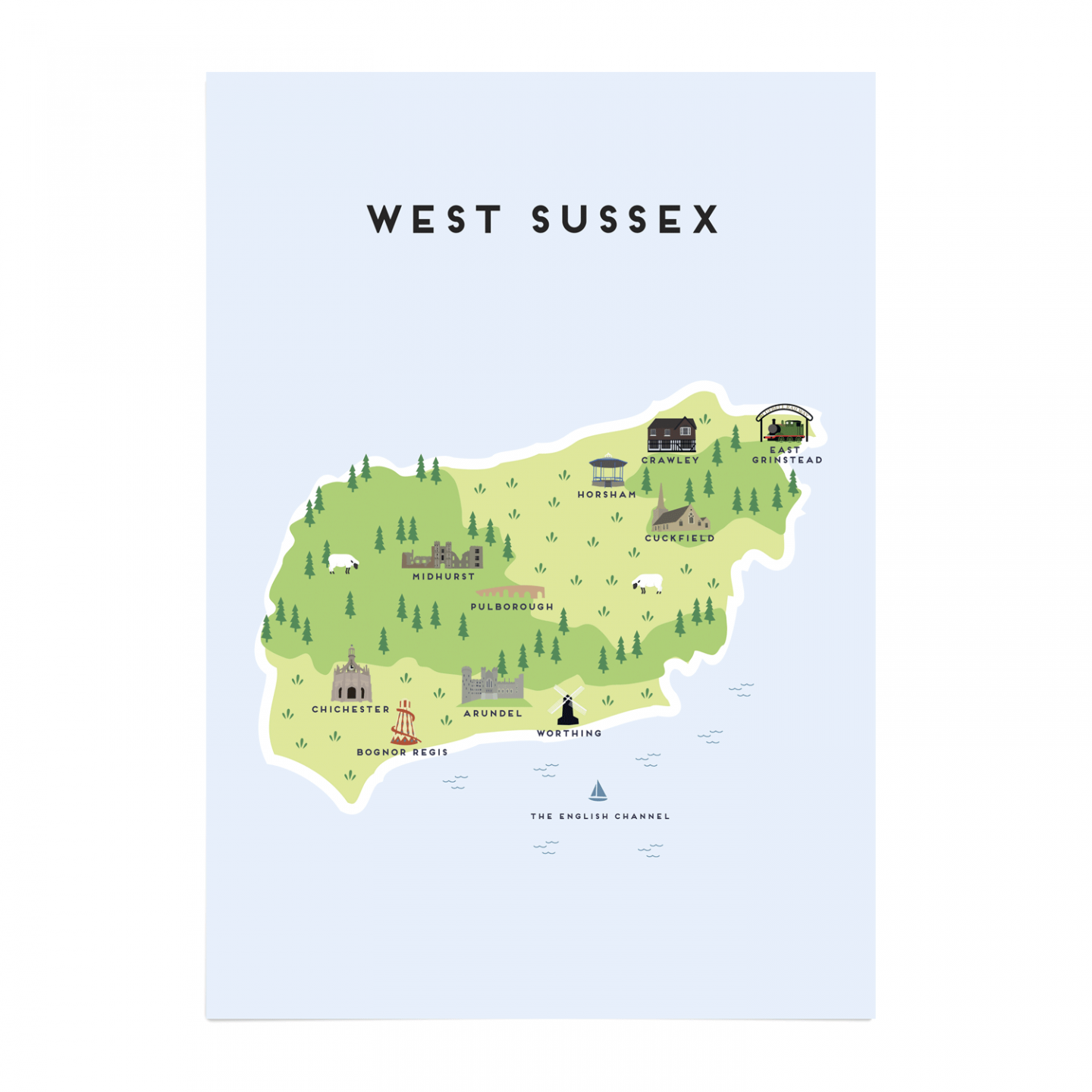 Place in Print Pepper Pot Studios West Sussex Illustrated Map Art Print Unframed