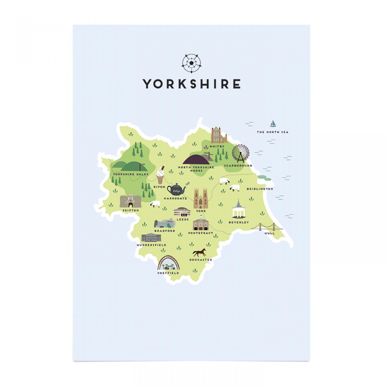 Place in Print Pepper Pot Studios Yorkshire Illustrated Map Art Print Unframed